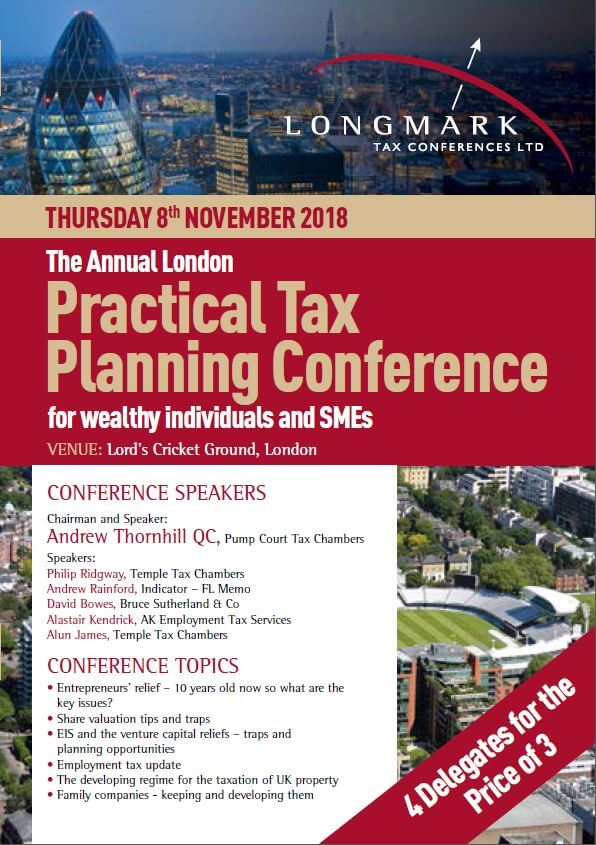 Longmark Tax Conferences Ltd Presents: The Annual London Practical Tax Planning Conference